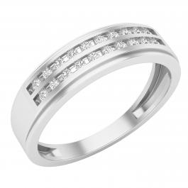0.25 Carat (ctw) Stunning Double Row Channel Set Men's Wedding Band Ring, 925 Sterling Silver