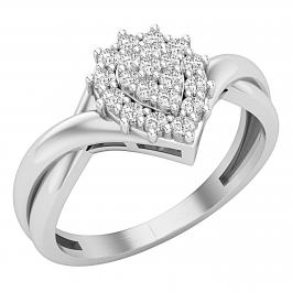 0.25 Carat (ctw) Round White Diamond Graduated Pear Shaped Cocktail Ring 1/4 CT, 925 Sterling Silver