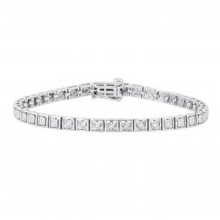 0.25 Carat (ctw) Round White Diamond Modern Square Tennis Bracelet 1/4 CT | 925 Sterling Silver