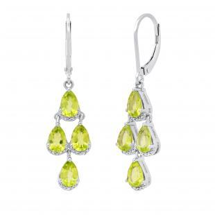 6X4 mm Pear Peridot & Round White Diamond Ladies Dew Drop Chandelier Earrings | 925 Sterling Silver