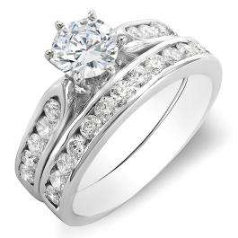 1.10 Carat (ctw) 14k White Gold Round Diamond Ladies Bridal Semi Mount Engagement Ring Set (No Center Stone)