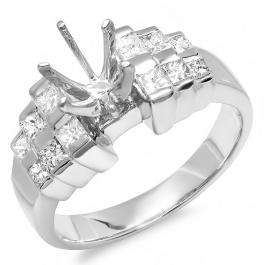 0.51 Carat (ctw) 14k White Gold Round & Princess Diamond Ladies Bridal Ring (No Center Stone)