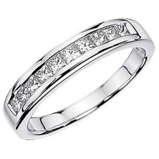 0.50 Carat (ctw) 14K White Gold Princess White Diamond Anniversary Wedding Stackable Ring Band 1/2 CT