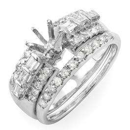 0.75 Carat (ctw) 14k White Gold Round & Baguette Diamond Ladies Bridal Semi Mount Ring Set (No Center Stone)