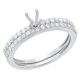 0.50 Carat (ctw) 14k White Gold Round Diamond Ladies Bridal Semi Mount Engagement Ring (No Center Stone)