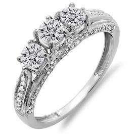 1.00 Carat (ctw) 14k White Gold Round Diamond Ladies Vintage Bridal 3 Stone Engagement Ring 1 CT