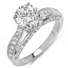 0.65 Carat (ctw) 14k White Gold Round Diamond Ladies Solitaire with Accents Bridal Engagement Ring (No Center Stone)
