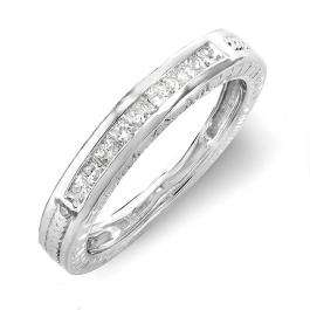 0.33 Carat (ctw) 14k White Gold Princess Diamond Ladies Anniversary Wedding Matching Band Stackable Ring