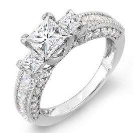 2.25 Carat (ctw) 14k White Gold Princess & Round Diamond Ladies 3 stone Ladies Engagement Ring
