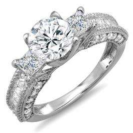 Certified 3.15 Carat (ctw) 14k White Gold Round & Princess Diamond Ladies 3 Stone Engagement Bridal Ring 1.38 CT center included
