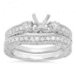 0.75 Carat (ctw) 14K White Gold Round Diamond Ladies Bridal Engagement Ring Semi Mount Set 3/4 CT (No Center Stone)