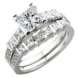 0.80 Carat (ctw) 14k White Gold Princess & Round Diamond Ladies Bridal Semi Mount Engagement Ring Set (No Center Stone)