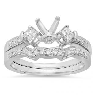 0.55 Carat (ctw) 14k White Gold Round & Princess Diamond Ladies Semi Mount Bridal Engagement Ring Set (No Center Stone)