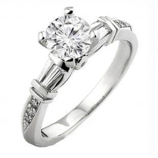 0.32 Carat (ctw) 14k White Gold Round & Baguette Diamond Ladies Bridal Semi Mount Engagement Ring (No Center Stone)