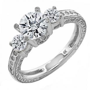 1.30 Carat (ctw) 14K White Gold Brilliant Round Diamond Ladies Vintage 3 Stone Engagement Bridal Ring 1 1/3 CT