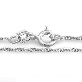 Sterling Silver Rope Chain Necklace 16 inch long 0.80 mm thickness Rhodium Plated Spring Ring Clasp