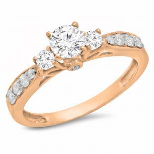 1.00 Carat (ctw) 14K Rose Gold Round Diamond Ladies 3 Stone Bridal Engagement Ring 1 CT