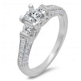 1.00 Carat (ctw) 14k White Gold Princess & Round 3 Stone Diamond Ladies Bridal Engagement Ring