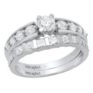 1.50 Carat (ctw) 14k White Gold Princess & Round Diamond Ladies Bridal Ring Set Engagement Set 1 1/2 CT