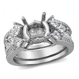 1.30 Carat (ctw) 14k White Gold Princess & Round Diamond Ladies Bridal Semi Mount Ring Set (No Center Stone)