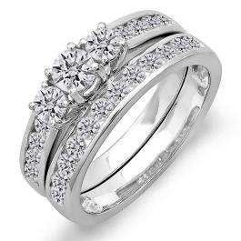 1.50 Carat (ctw) 14k White Gold Round Diamond Ladies Bridal 3 Stone Engagement Ring Set Matching Band