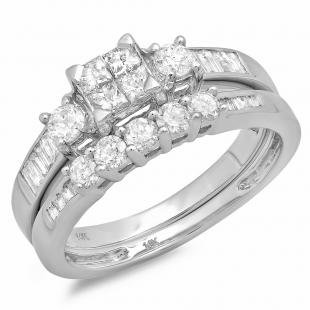 0.85 Carat (ctw) 14k White Gold Princess & Round Diamond Ladies Bridal Ring Set Engagement with Matching Band