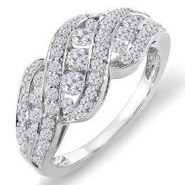 1.00 Carat (ctw) 14K White Gold Round Diamond Ladies Cocktail Right Hand Ring 1 CT