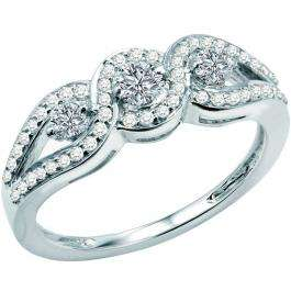 0.65 Carat (ctw) 14k White Gold Round Diamond Ladies Bridal Engagement Three Stone Ring