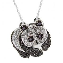 0.25 Carat (ctw) 10k White Gold Real Round Black and White Diamond Ladies Panda Bear Pendant 1/4 CT