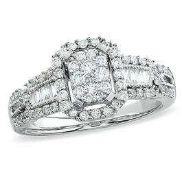 1.00 Carat (ctw) 14k White Gold Brilliant Round & Baguette Cut Diamond Ladies Engagement Bridal Ring