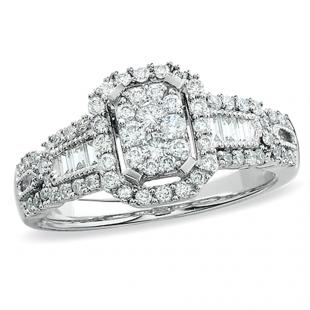 1.00 Carat (ctw) 14k White Gold Brilliant Round & Baguette Cut Diamond Ladies Engagement Bridal Ring