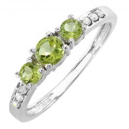 0.50 Carat (ctw) 10k White Gold Green Peridot & White Round Diamond Ladies Three Stone Engagement Bridal Ring 1/2 CT