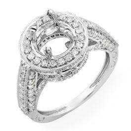 1.10 Carat (ctw) 14K White Gold Round Diamond Semi Mount Round Engagement Bridal Ring (No Center Stone)