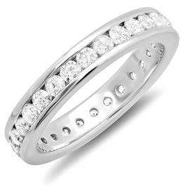 CERTIFIED 1.75 Carat (ctw) 14k White Gold Round Diamond Ladies Eternity Stackable Anniversary Wedding Band