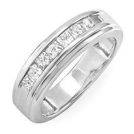 0.90 Carat (ctw) 14k White Gold Princess Diamond Mens Wedding Anniversary Band Ring