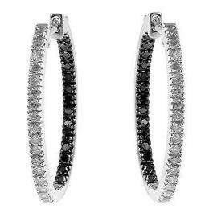 1.30 Carat (ctw) 14k White Gold Round Diamond Hoop Earrings
