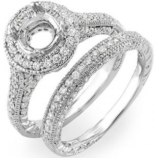 1.00 Carat (ctw) 14K White Gold Brilliant Round Cut Diamond Antique Vintage look Semi Mount Ladies Bridal Engagement Ring Set (No Center Stone)