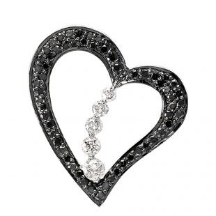 0.60 Carat (ctw) 10K White Gold Round Black White Diamond Heart Pendant