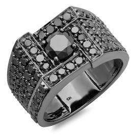 4.50 Carat (ctw) 10k Black Rhodium Plated White-Gold Black Diamond Men's Ring