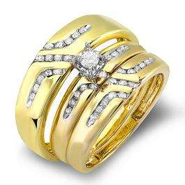 CERTIFIED 0.55 Carat (ctw) 10K Yellow Gold Round White Diamond Men & Women's Diamond Ring Trio Set Diamond Ring