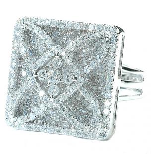 3.00 Carat (ctw) 14k White Gold Round Diamond Ladies Cocktail Right Hand Ring 3 CT