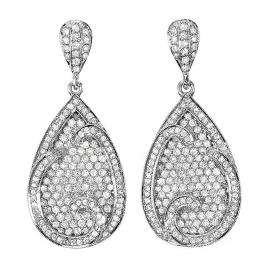 CERTIFIED 4.00 Carat (ctw) 14k White Gold Round Diamond Ladies Dangling Drop Earrings