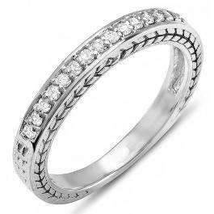 0.25 Carat (ctw) 10K White Gold Round White Diamond Anniversary Wedding Band Stackable Ring 1/4 CT