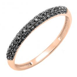 0.25 Carat (ctw) 14k Rose Gold Round Black Diamond Ladies Pave Anniversary Wedding Band Stackable Ring 1/4 CT