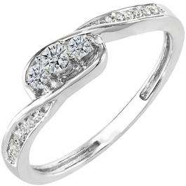 0.25 Carat (ctw) 10k White Gold Round Diamond Ladies 3 Stone Engagement Promise Ring 1/4 CT