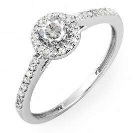 0.40 Carat (ctw) 14k White Gold Round Cut Diamond Ladies Engagement Bridal Halo Ring