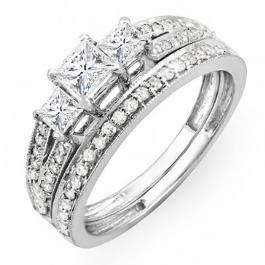 1.00 Carat (ctw) 14k White Gold Princess Cut 3 Stone Diamond Ladies Engagement Bridal Ring Set Matching Band 1 CT