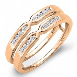 0.25 Carat (ctw) 18k Rose Gold Round Diamond Ladies Anniversary Wedding Band Guard Double Ring 1/4 CT