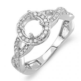 0.50 Carat (ctw) 14K White Gold Round Diamond Semi Mount Bridal Engagement Ring 1/2 CT (No Center Stone)