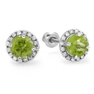 2.00 Carat (ctw) 14K White Gold Round Diamond Halo Green Peridot Stud Earrings